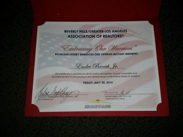 Beverly Hills Board of Realtors aka BH/GLAAR Recognition of Veteran Military Members